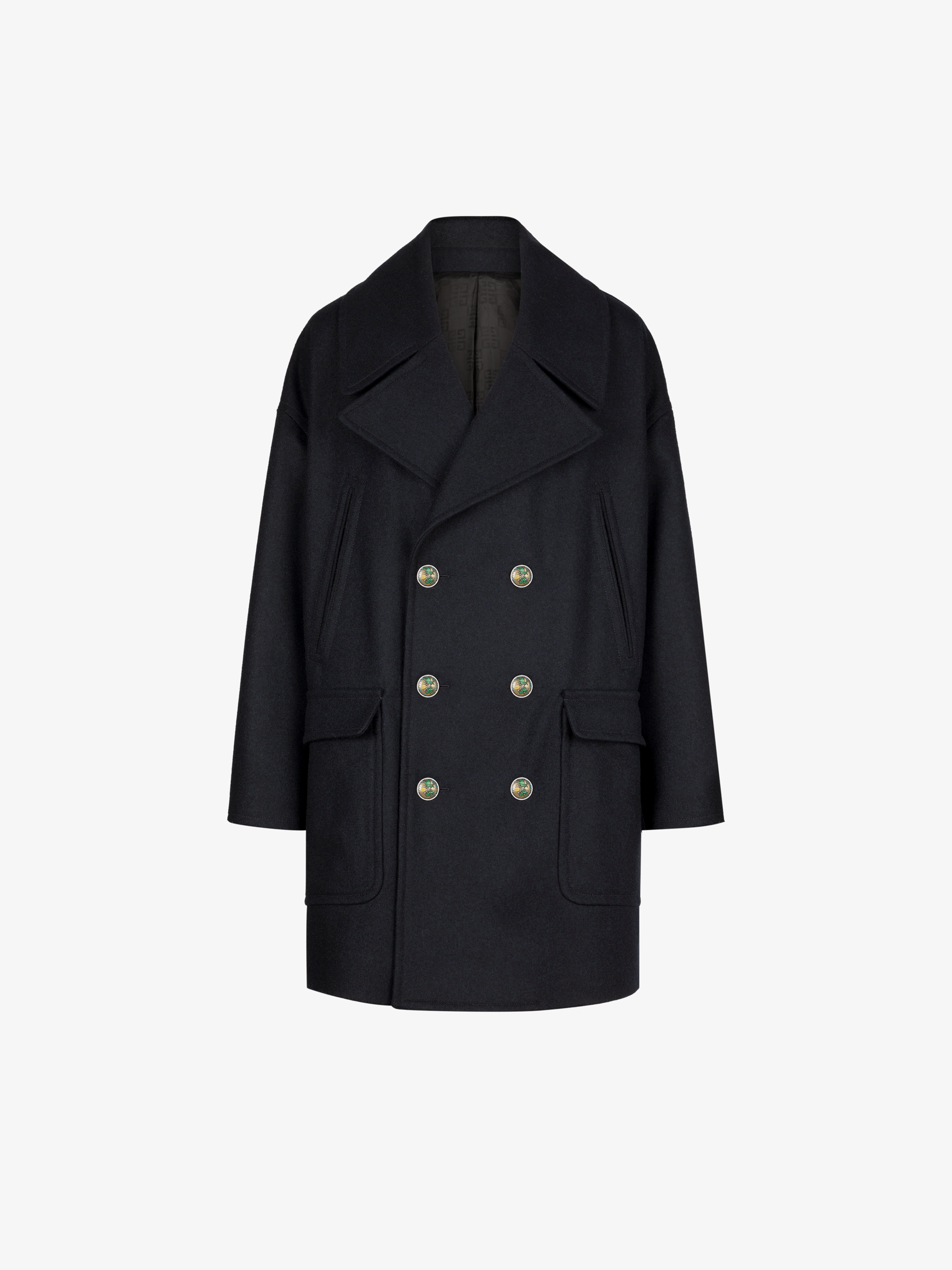 Oversized peacoat with blazon buttons