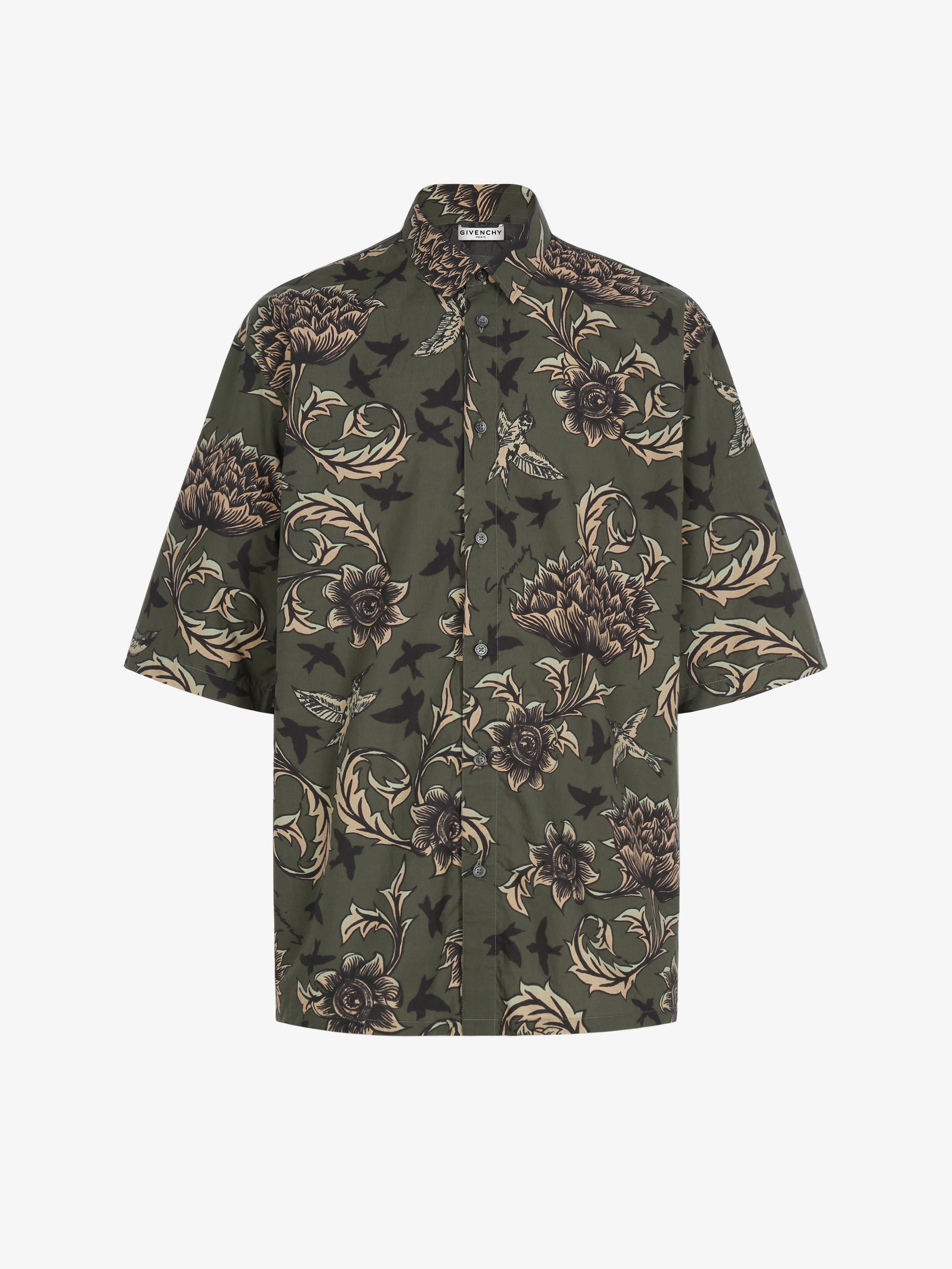 Floral and astral printed shirt in coton