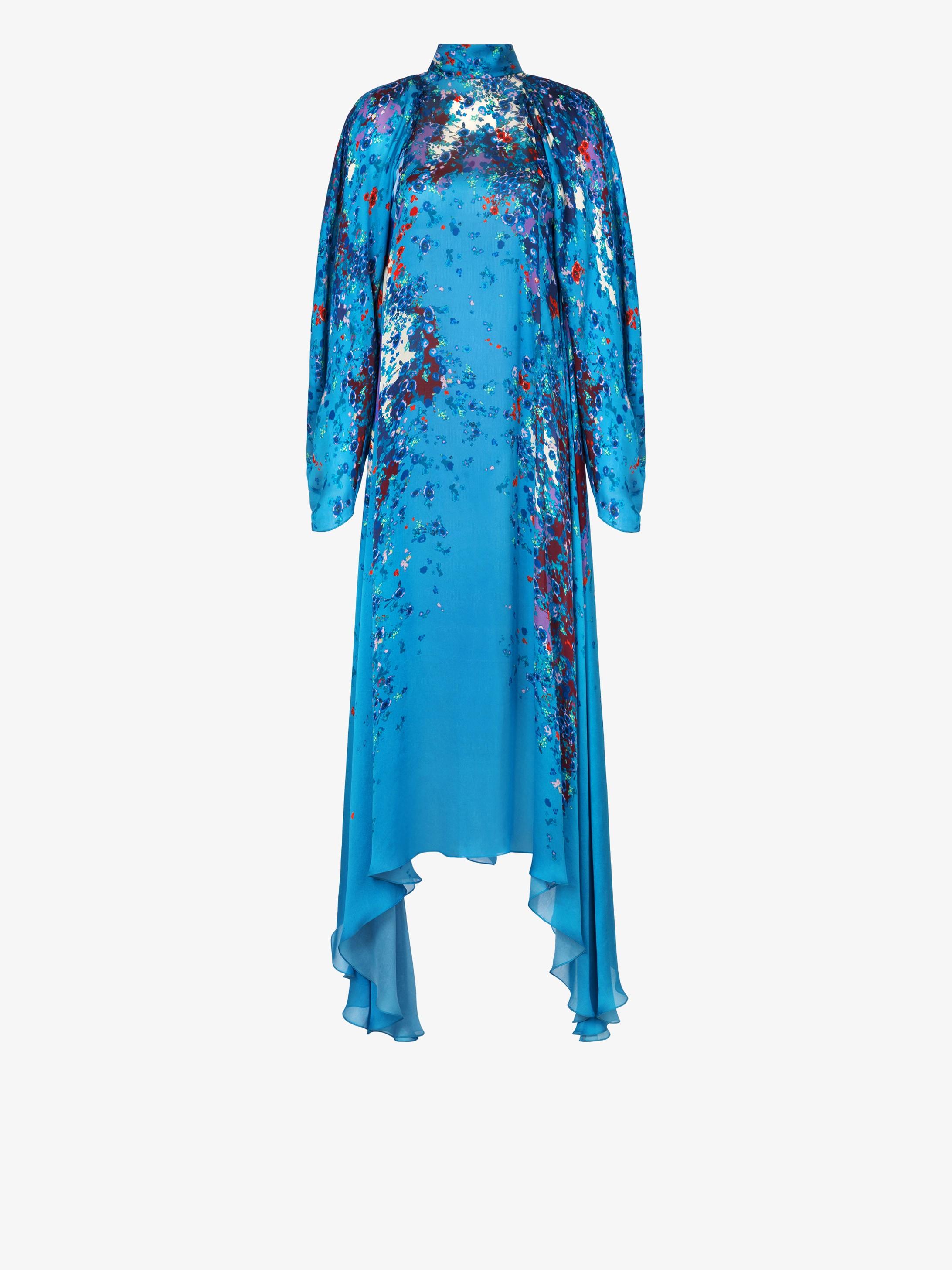 Robe longue en soie à imprimé floral