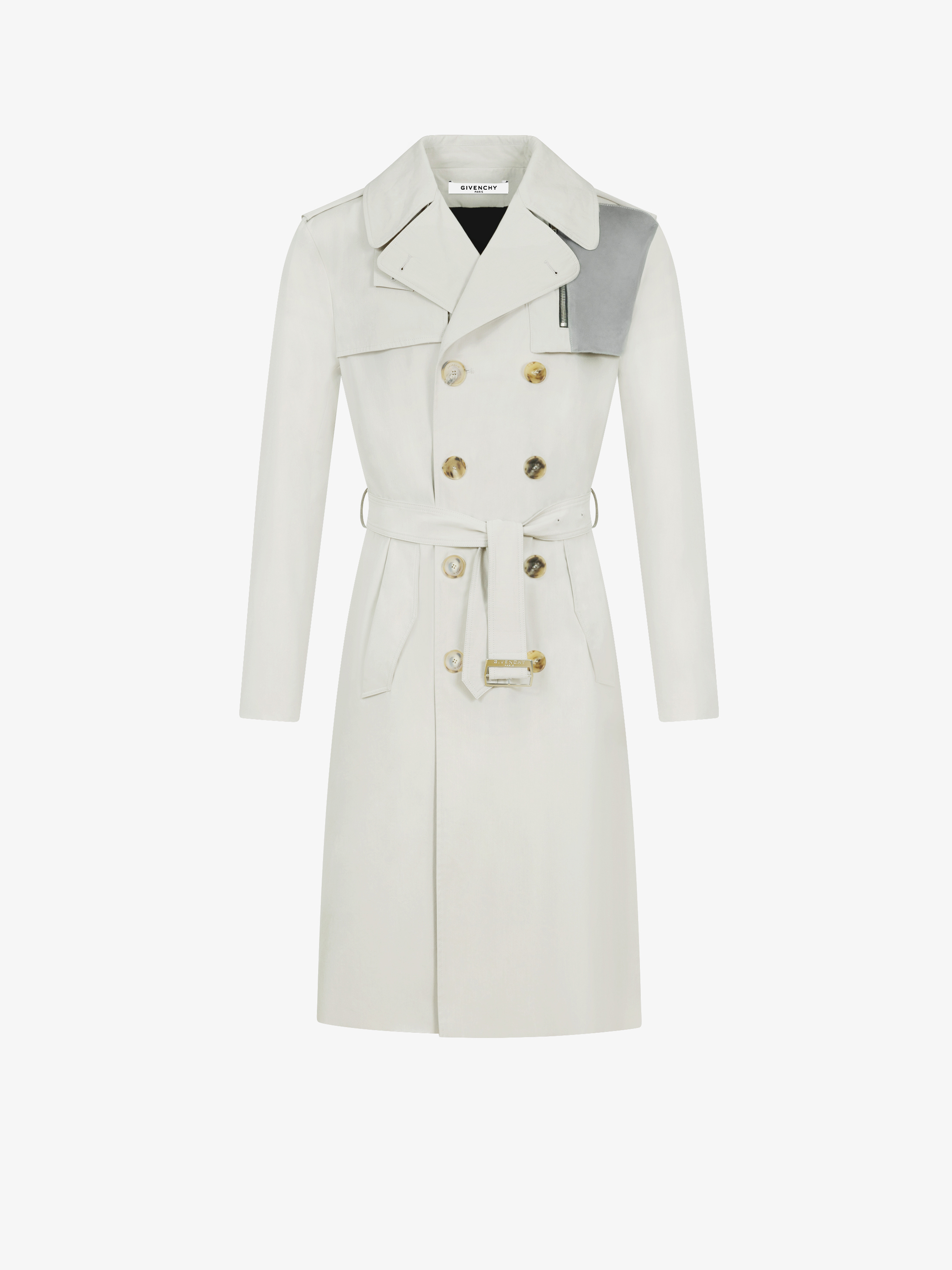 Contrasting pocket trench coat