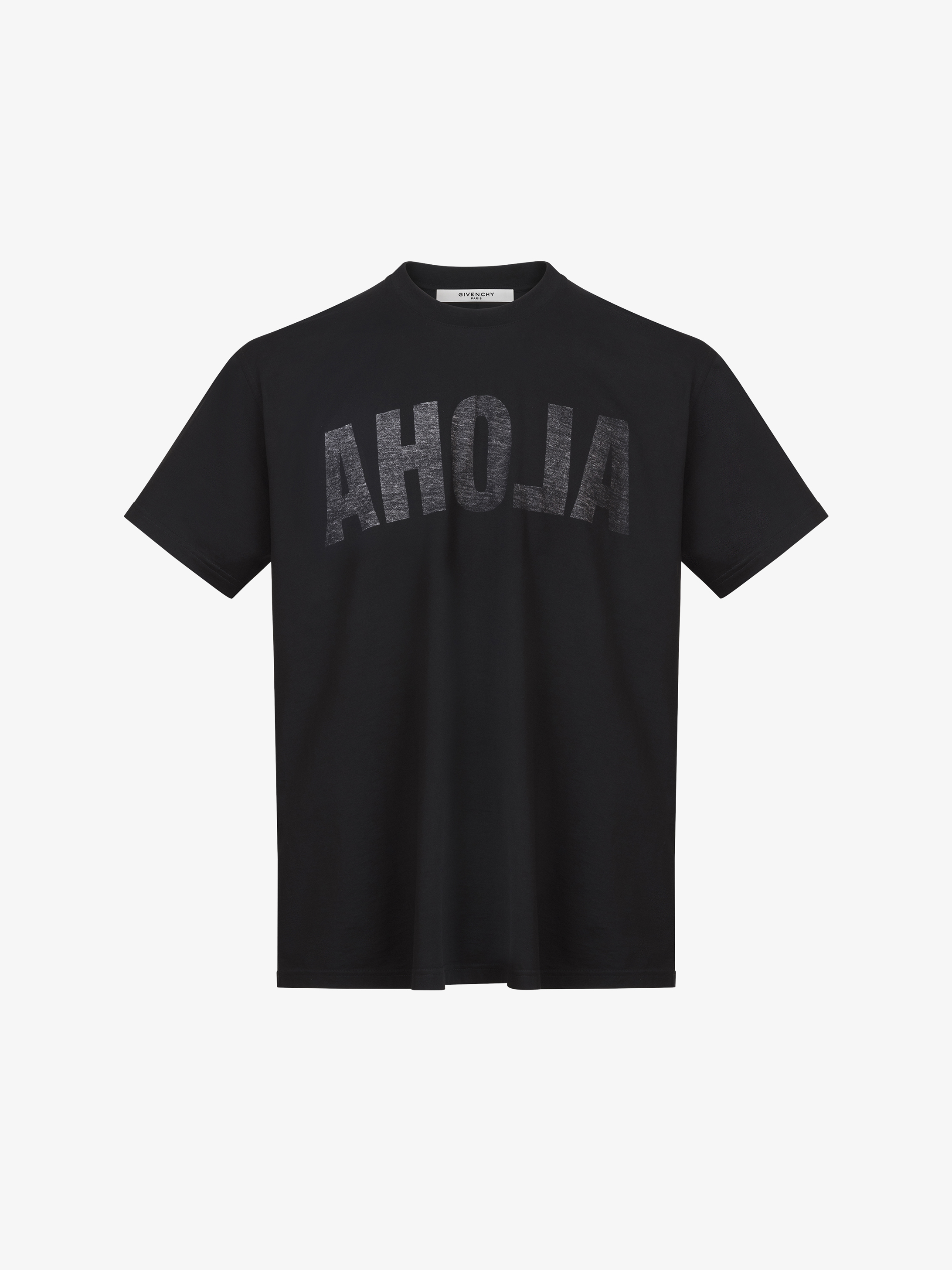 ALOHA和数字74印花装饰超大款T恤