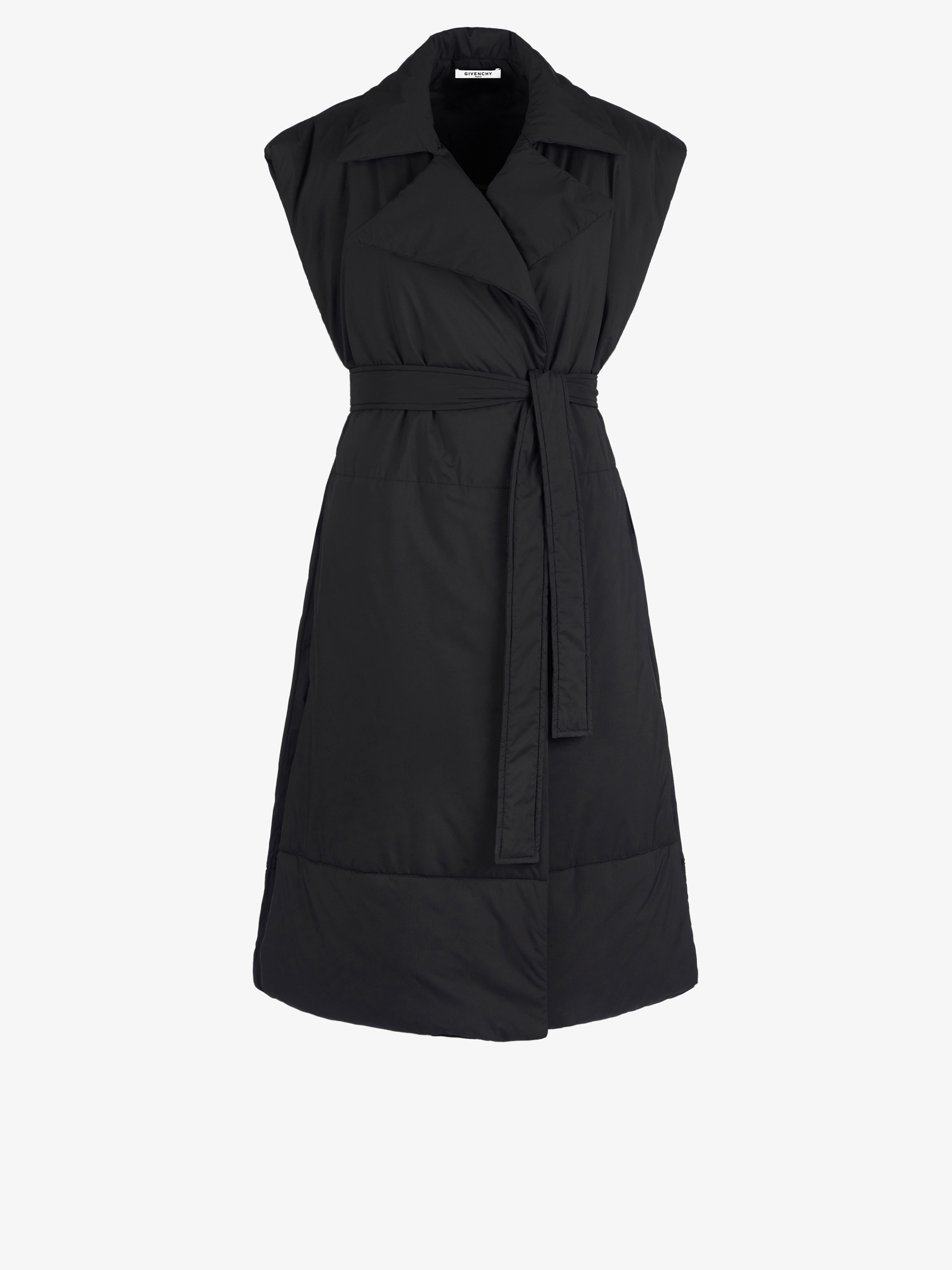 Puffa sleeveless trench coat-cape in light nylon