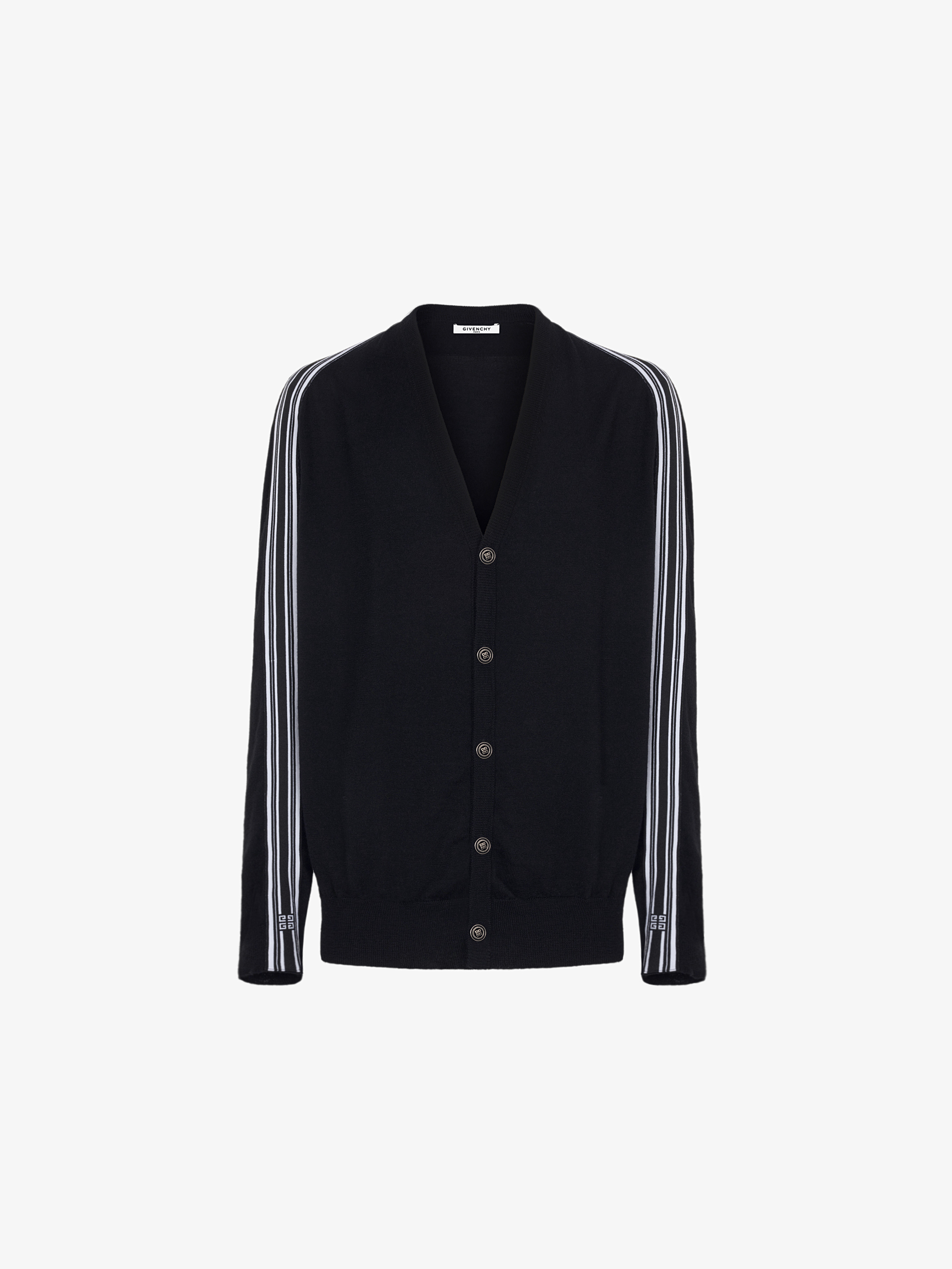 4G contrasting stripes cardigan in wool