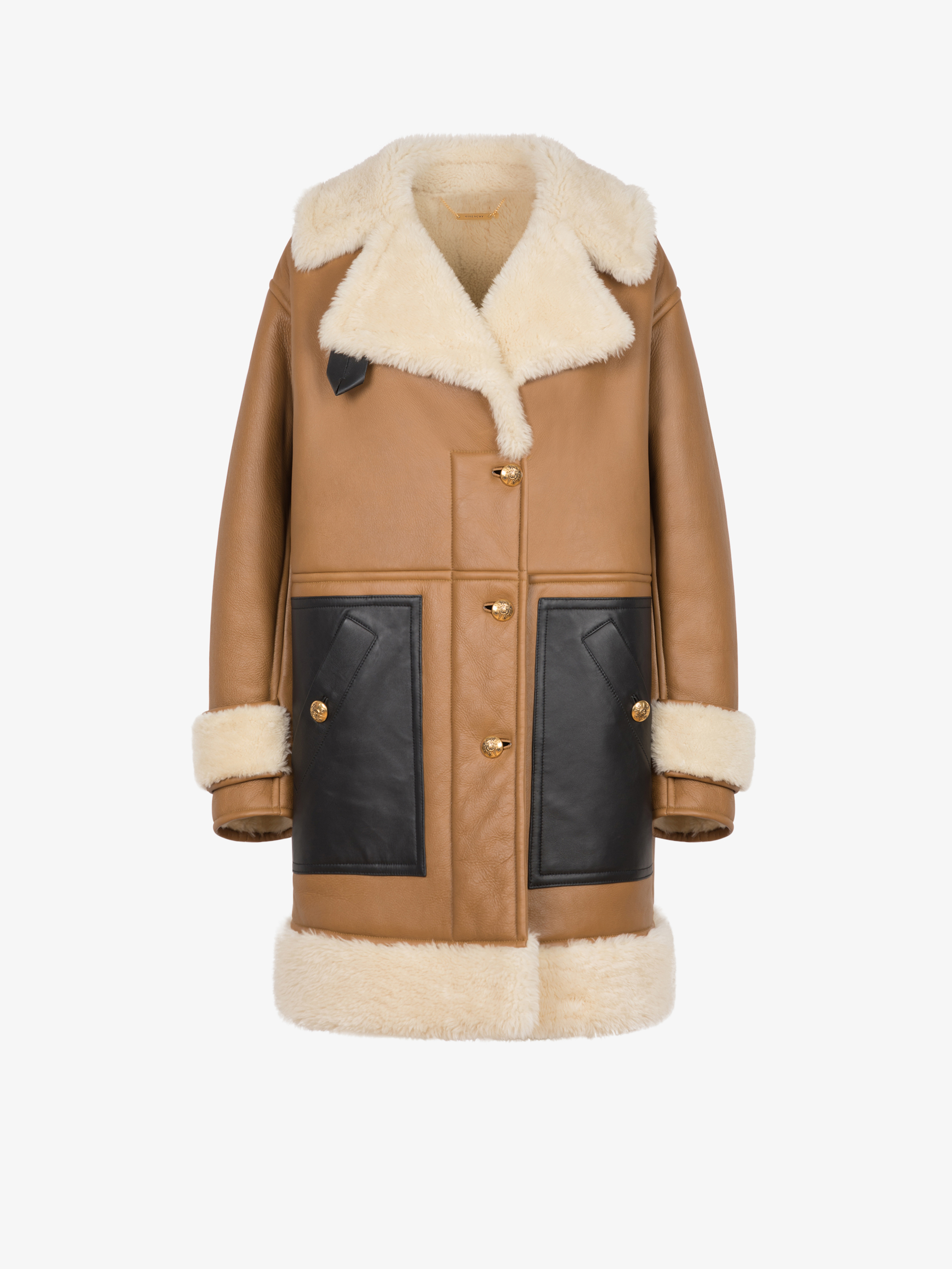 Shearling coat with 4G dagger buttons