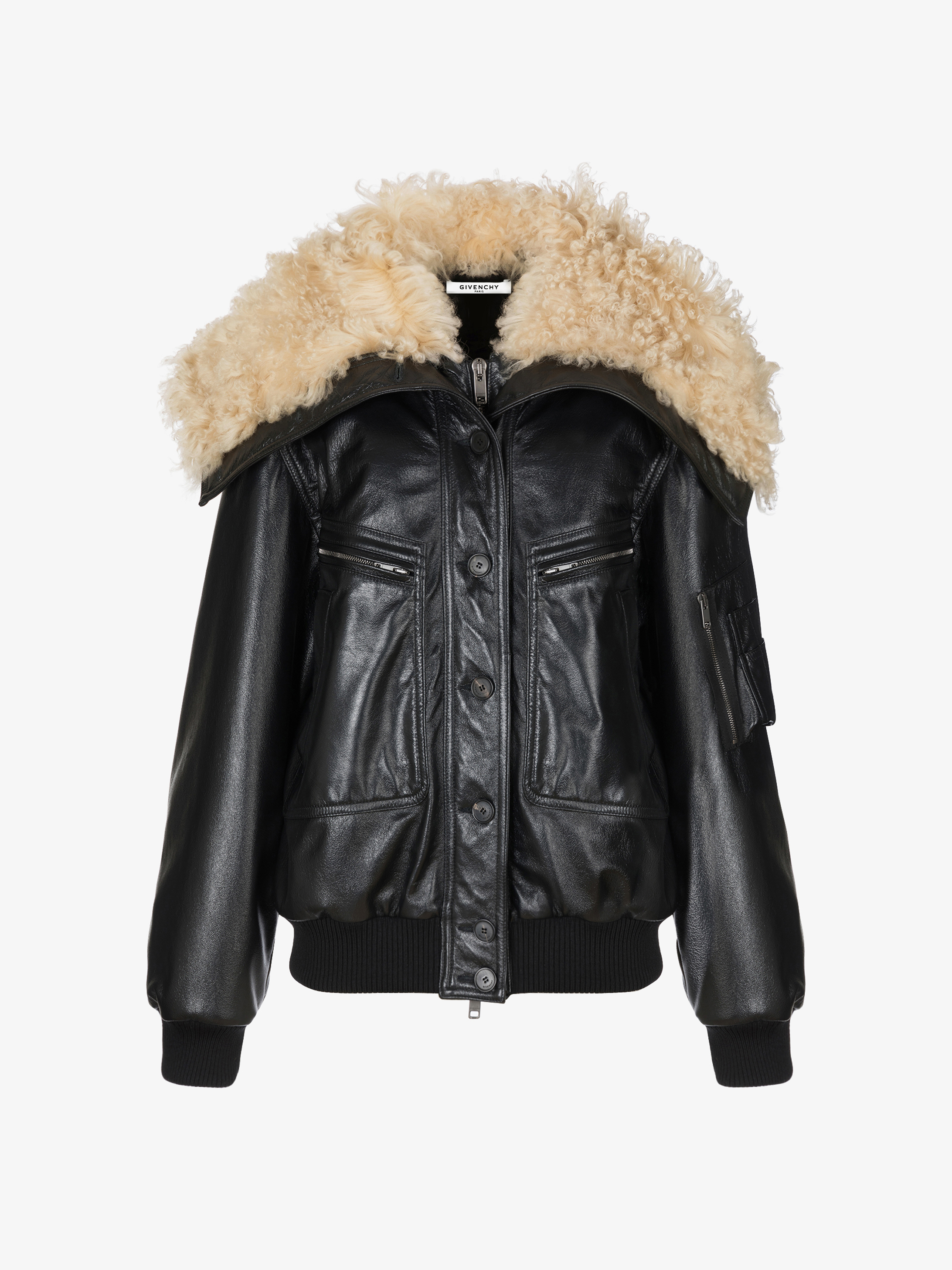 Oversized jacket in leather with shearling collar