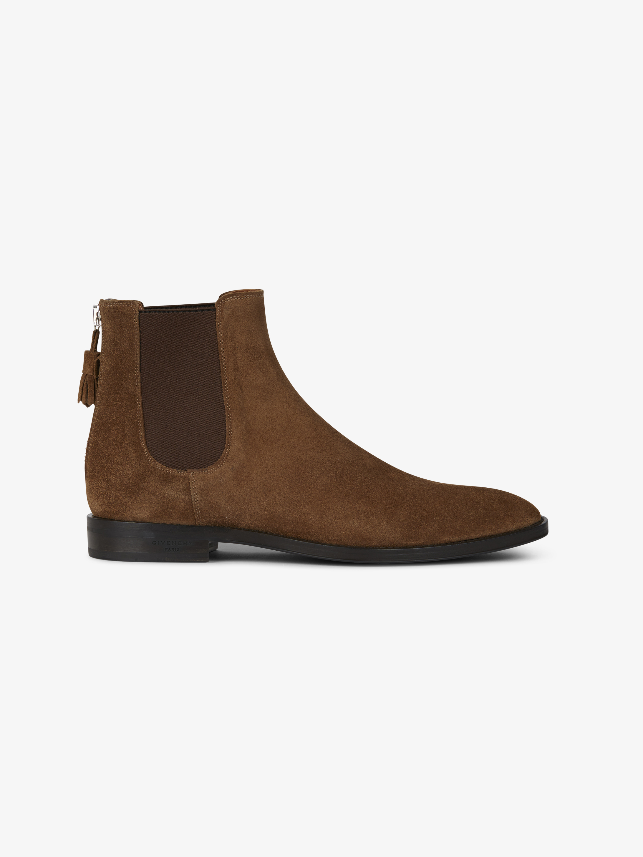 Suede boots with back zip