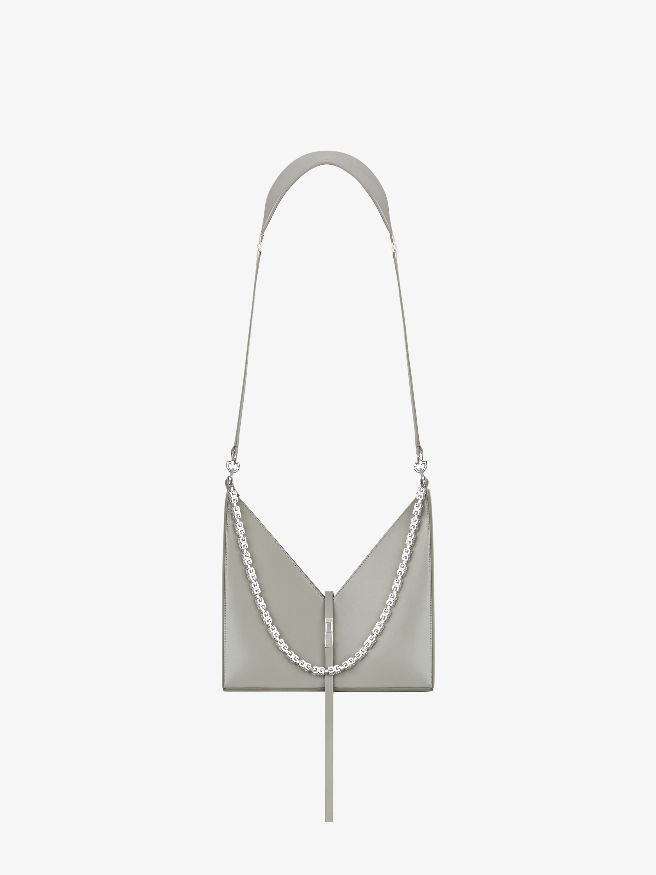 Small Cut Out bag in box leather with chain