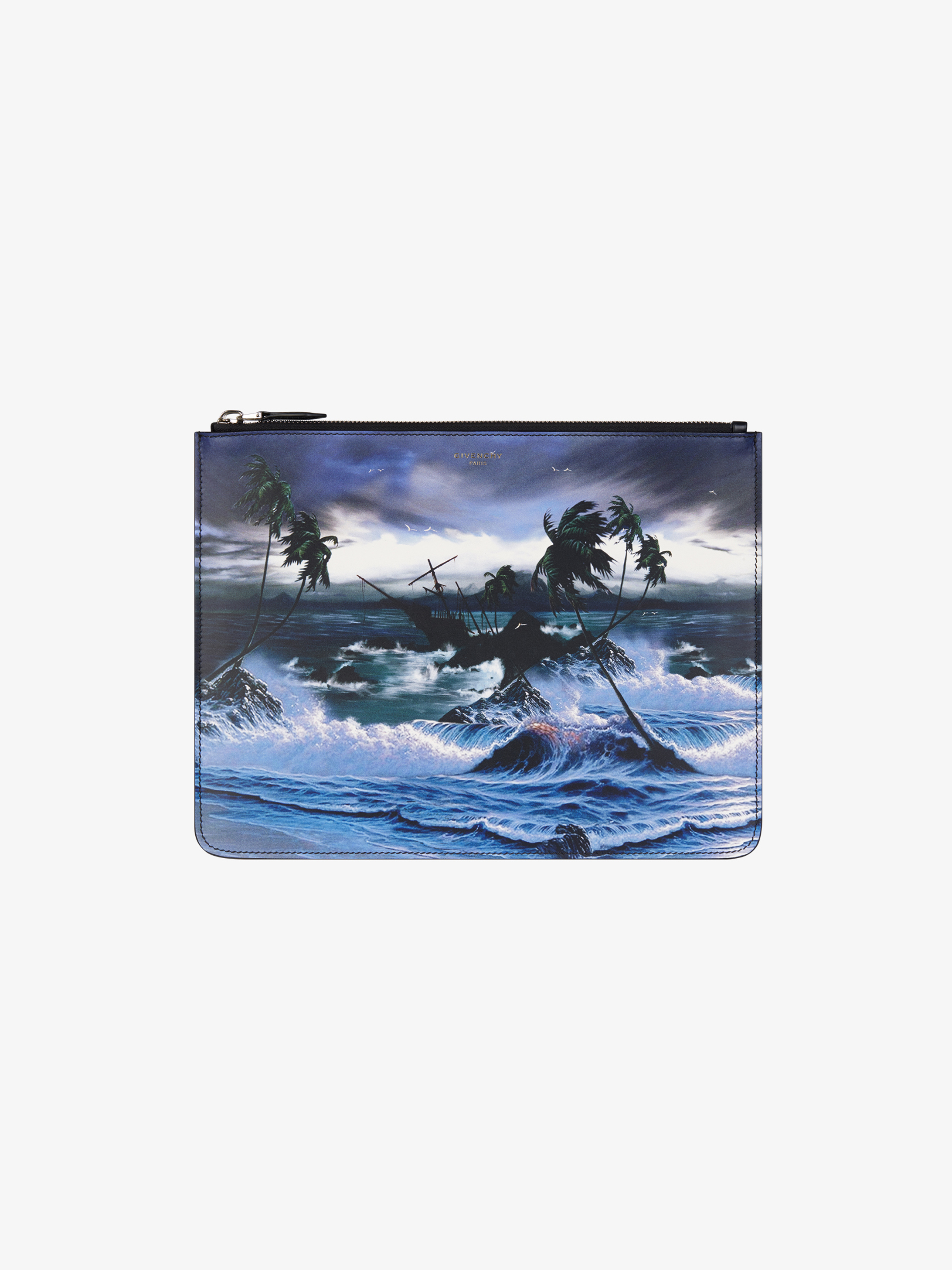 Hawaï printed pouch in leather