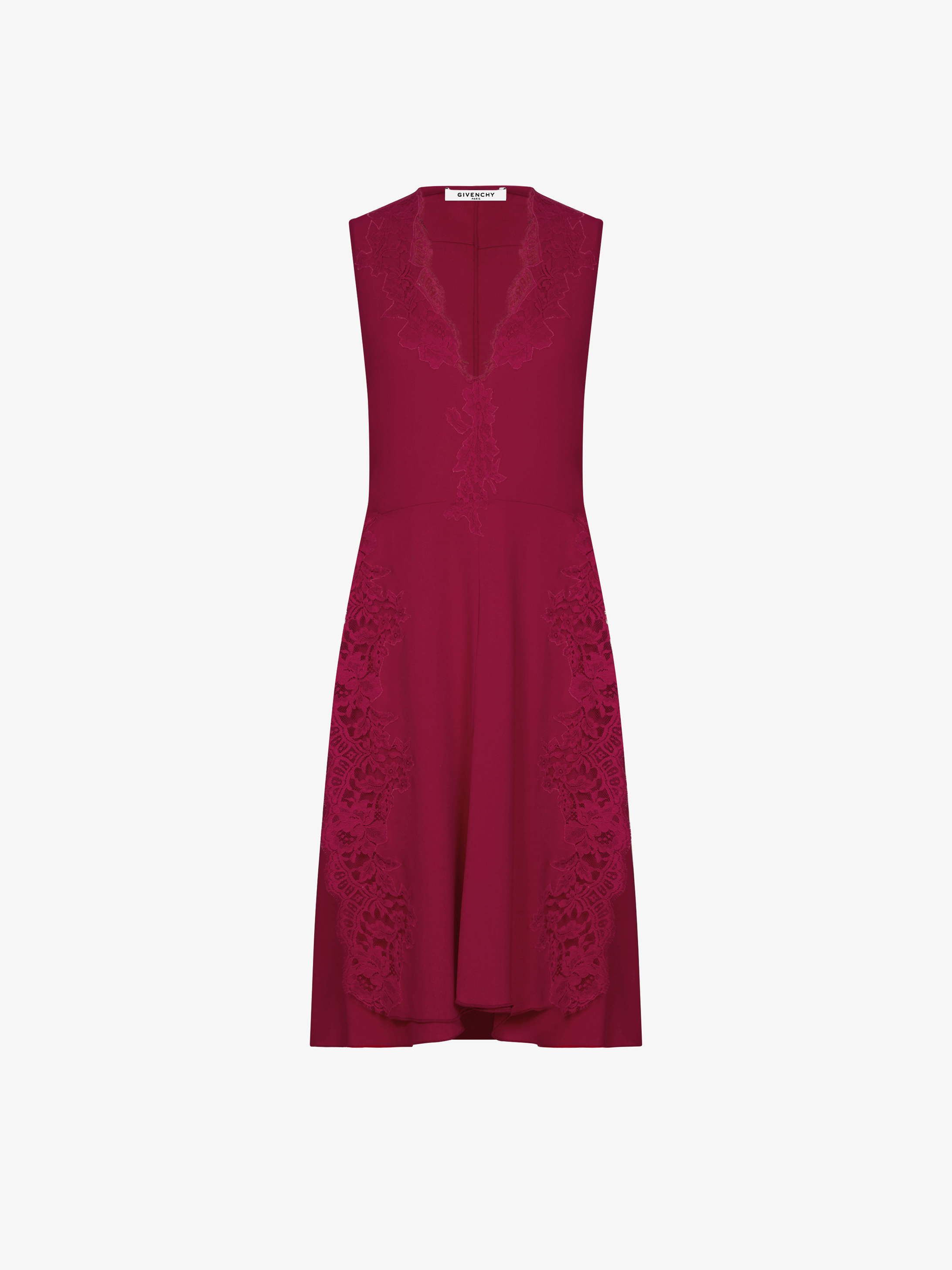 Lace details and patchwork short dress