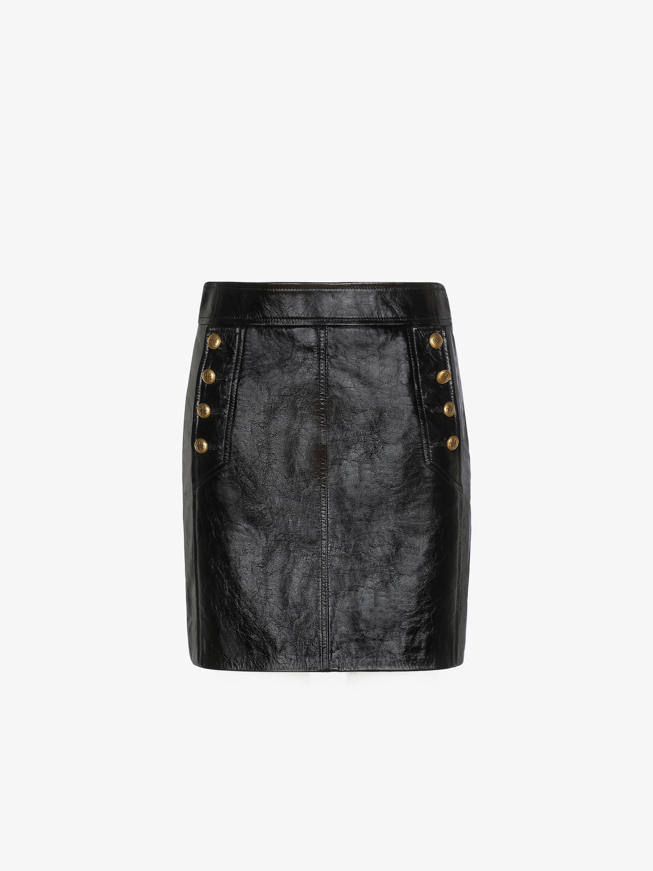 Mini skirt in vintage leather with 4G buttons