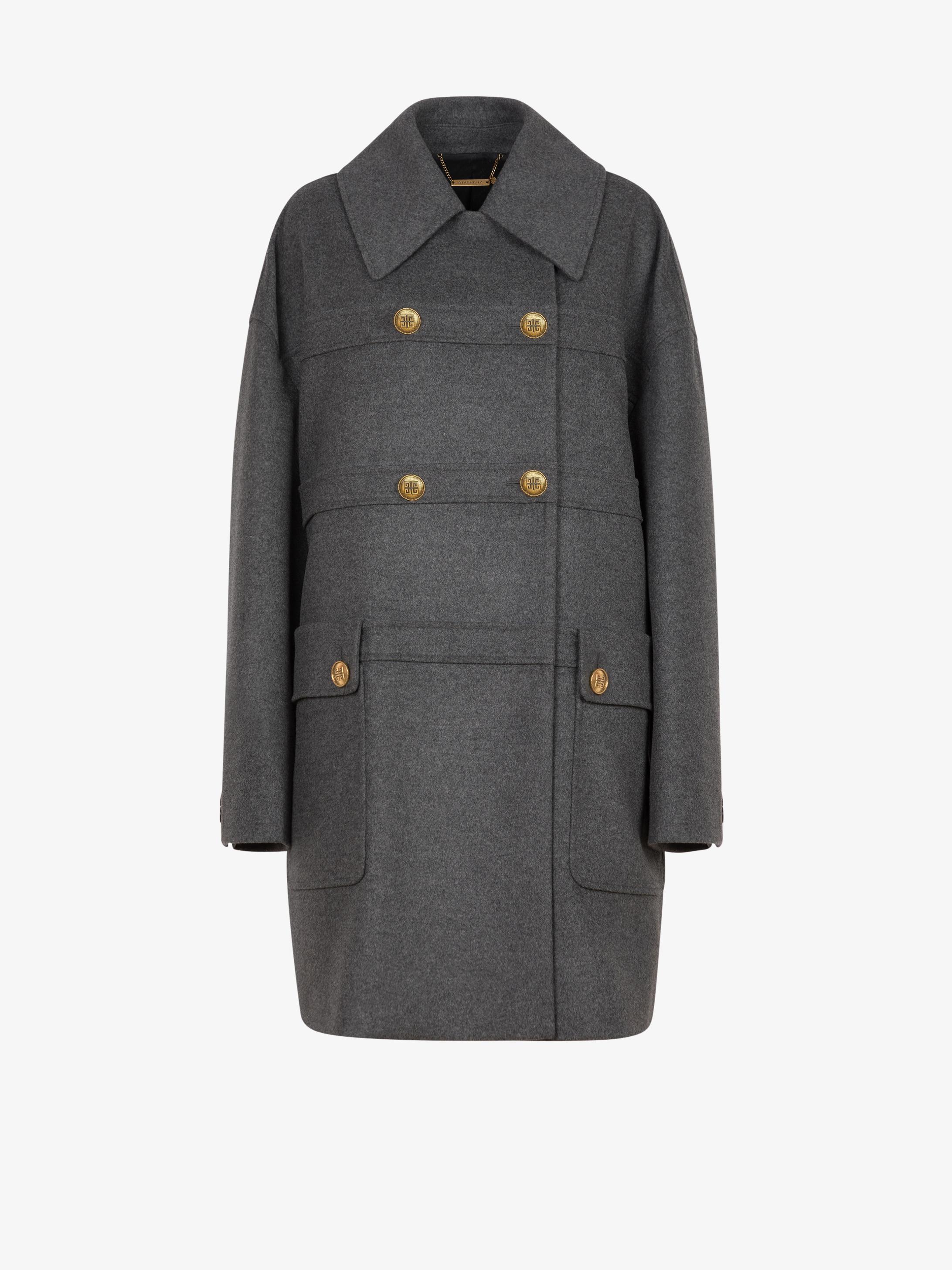 Manteau en laine et cachemire à boutons 4G