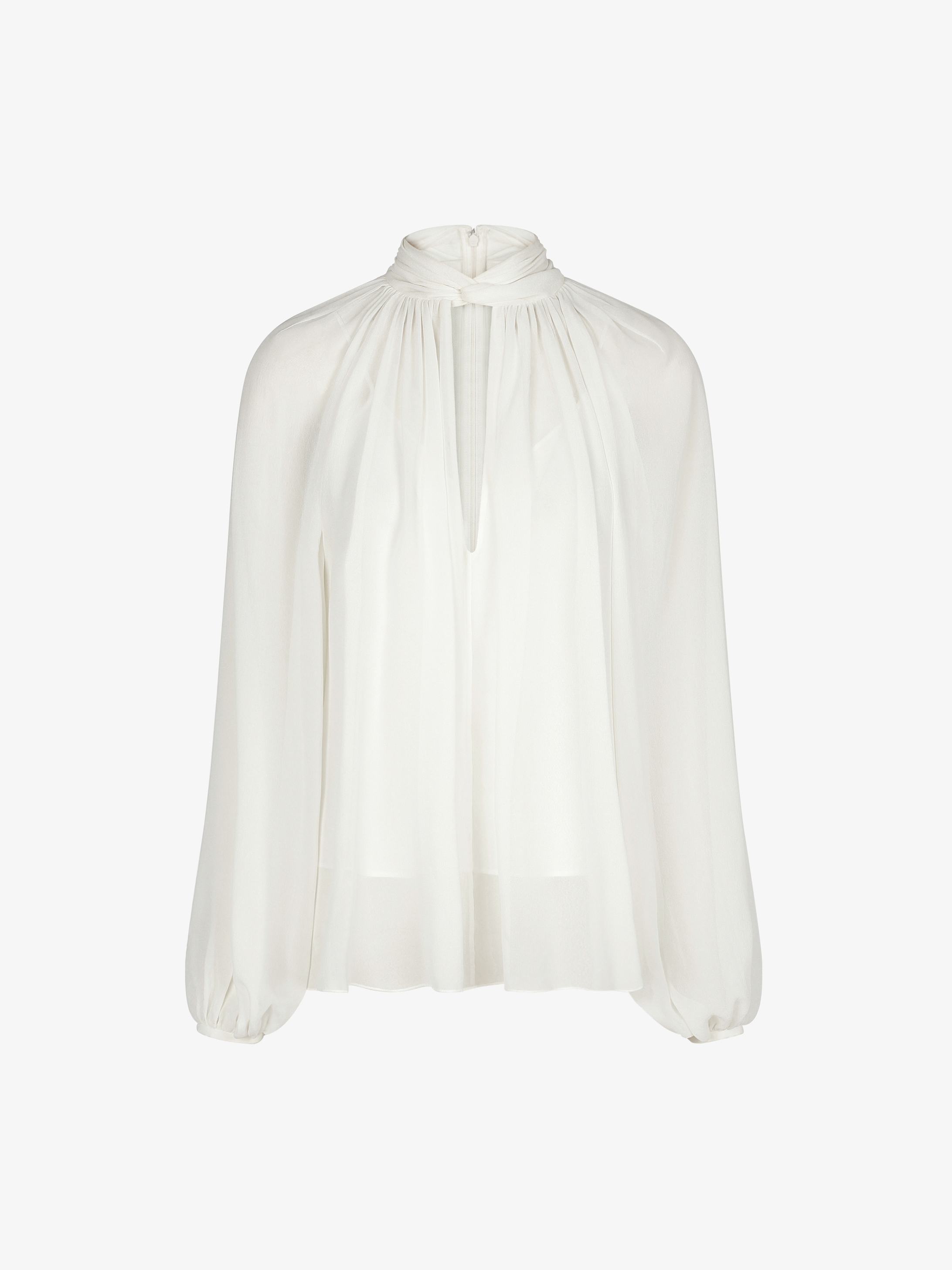 Blouse in silk with hang collar