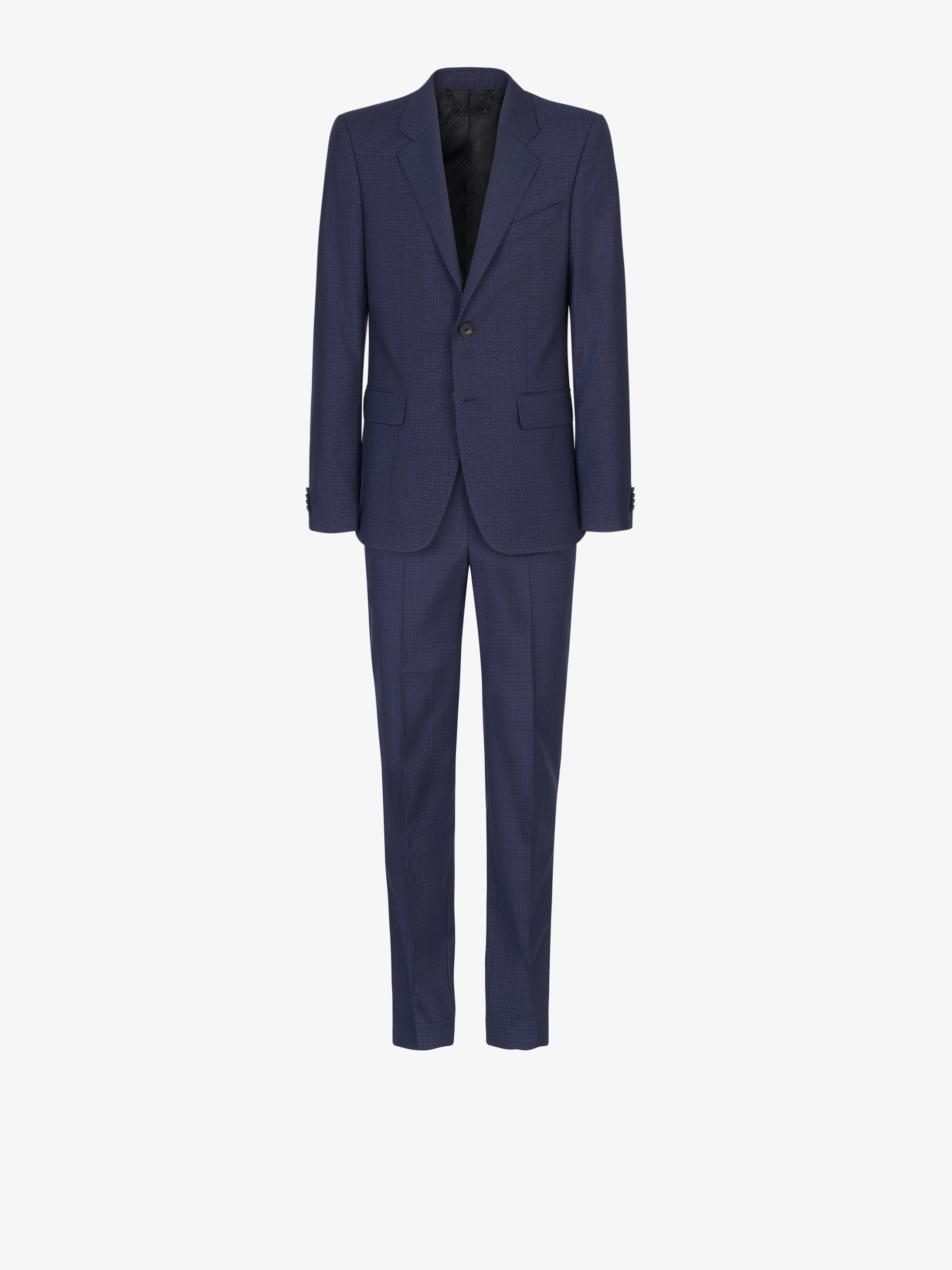Slim fit suit in wool with micro-tile