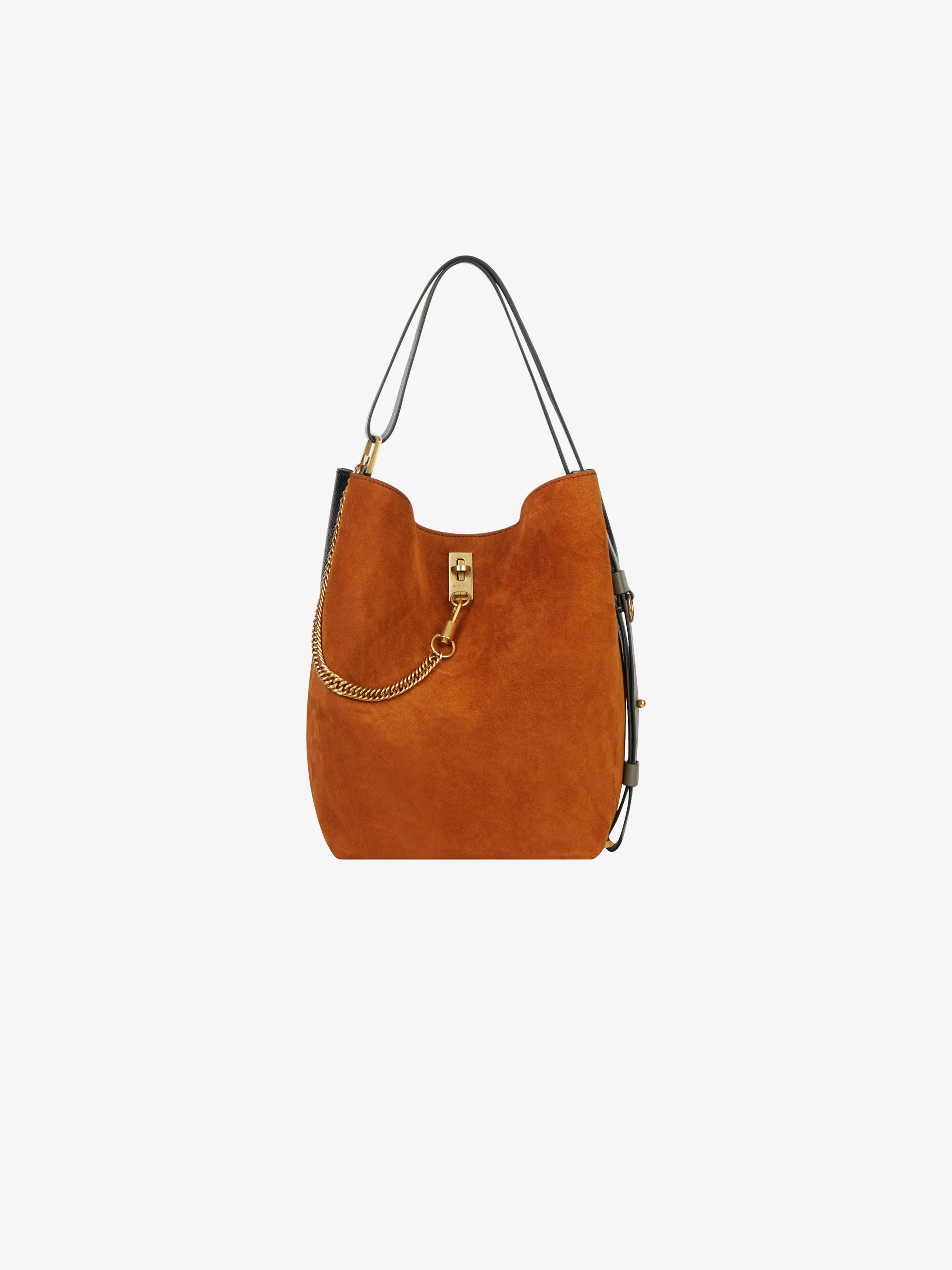 GV bucket bag in suède and patent leather