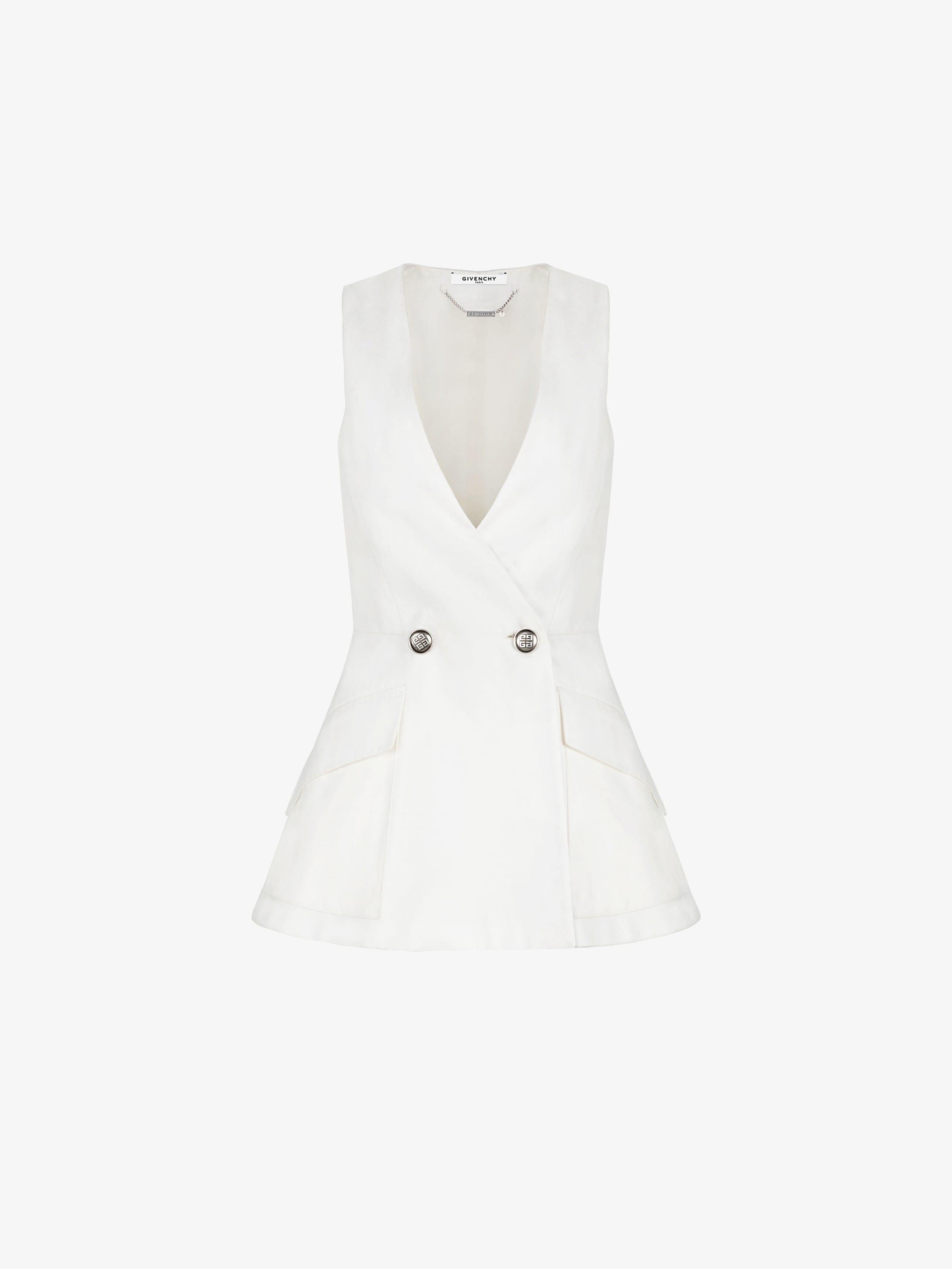 Sleeveless jacket in cotton
