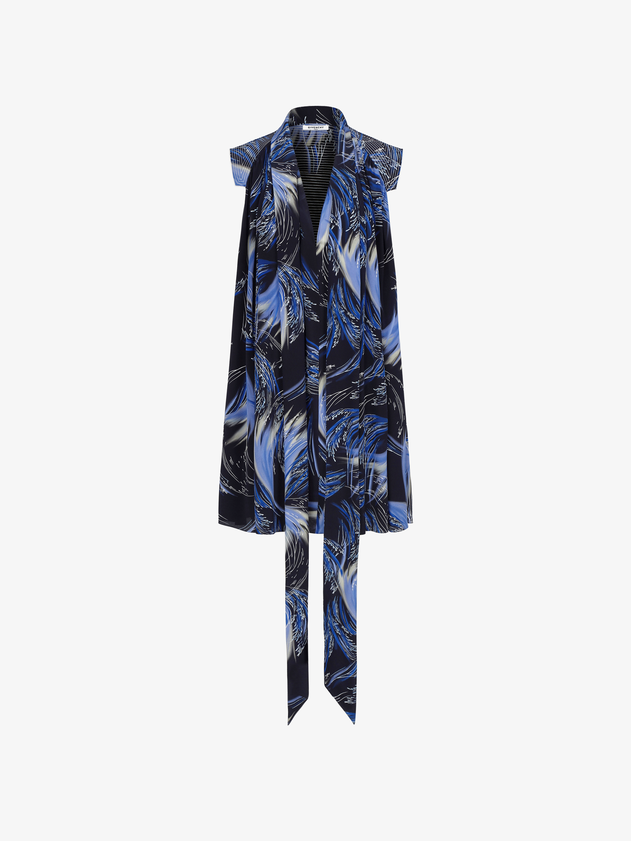 Waves printed short dress with scarf collar